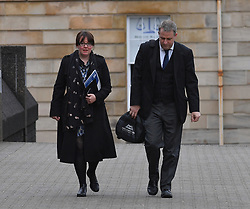 Pictured: Natalie McGarry arrives at court with her Lawyer Alan MacLeod.<br /> <br /> Former SNP MP Natalie McGarry appeared at Glasgow Sheriff Court for sentencing, where she previously admitted embezzling more than £26,000 GBP from several independence campaign organisations.<br /> <br /> © Dave Johnston / EEm