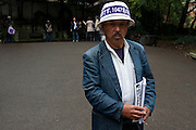 Union activists hand out information at a demo by left wing groups in Hibiya Park, Tokyo, Japan Sunday November 6th 2011