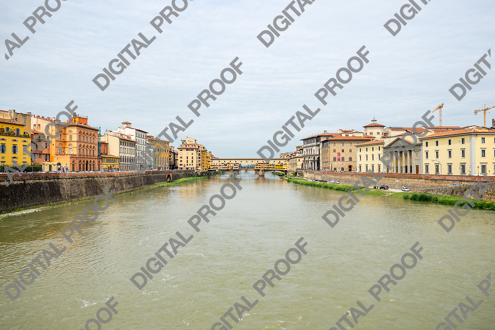 Ponte Vecchio -bridge- over the Arno river located in Florence, Tuscany region- Italy. Horizontal Image.
