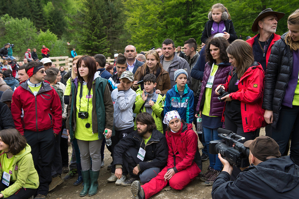 The crowds at the release of European bison, Bison bonasus, in the Tarcu mountains nature reserve, Natura 2000 area, Southern Carpathians, Romania. The release was actioned by Rewilding Europe and WWF Romania in May 2014.