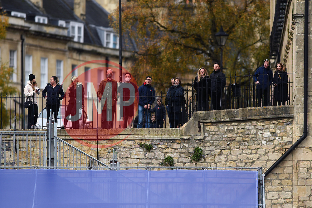 A crowd of supporters gathers outside the ground to watch the action from street level - Mandatory byline: Patrick Khachfe/JMP - 07966 386802 - 21/11/2020 - RUGBY UNION - The Recreation Ground - Bath, England - Bath Rugby v Newcastle Falcons - Gallagher Premiership