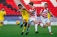 Wimbledon forward Kwesi Appiah (9) controls the ball  during the EFL Sky Bet League 1 match between Doncaster Rovers and AFC Wimbledon at the Keepmoat Stadium, Doncaster, England on 17 November 2018.