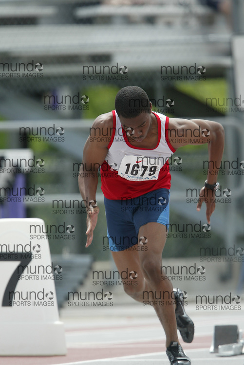 (London, Ontario}---05 June 2010) Kyle Bennett of St. Augustine - Brampton competing in the 200m heats at the 2010 OFSAA Ontario High School Track and Field Championships in London, Ontario, June 05, 2010 . Photograph copyright Sean Burges / Mundo Sport Images, 2010.