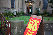 First un of voters arrive in the West End shortly after 7am. Scottish referendum in Edinburgh. All through out the day a huge number of voters turned out asll over Scotland to vote in the independence referendum. The polls were open from 7am till 10pm and the count went on through-out the night with the final results announced early in the following morning.