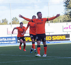 Dundee United's Craig Curran celebrates after scoring their second goal. Falkirk 0 v 2 Dundee United, Scottish Championship game played 22/9/2018 at The Falkirk Stadium.
