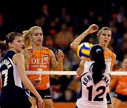 11-11-2007 VOLLEYBAL: PRE OKT: NEDERLAND - AZERBEIDZJAN: EINDHOVEN<br /> Nederland wint ook de de laatste wedstrijd. Azerbeidzjan verloor met 3-1 / Polina Rahimova, Kim Staelens en Ingrid Visser<br /> ©2007-WWW.FOTOHOOGENDOORN.NL