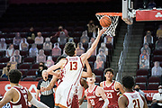 Southern California Trojans guard Drew Peterson (13) scores on a layup during an NCAA men's basketball game against the Stanford Cardinal, Wednesday, March 3, 2021, in Los Angeles. USC defeated Stanford 79-42. (Jon Endow/Image of Sport)