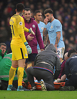 Football - 2017 / 2018 Premier League - Crystal Palace vs. Manchester City<br /> <br /> City players, Ederson and Kyle Walker show concern for injured Kevin de Bruyne before being stretchered off, at Selhurst Park.<br /> <br /> COLORSPORT/ANDREW COWIE