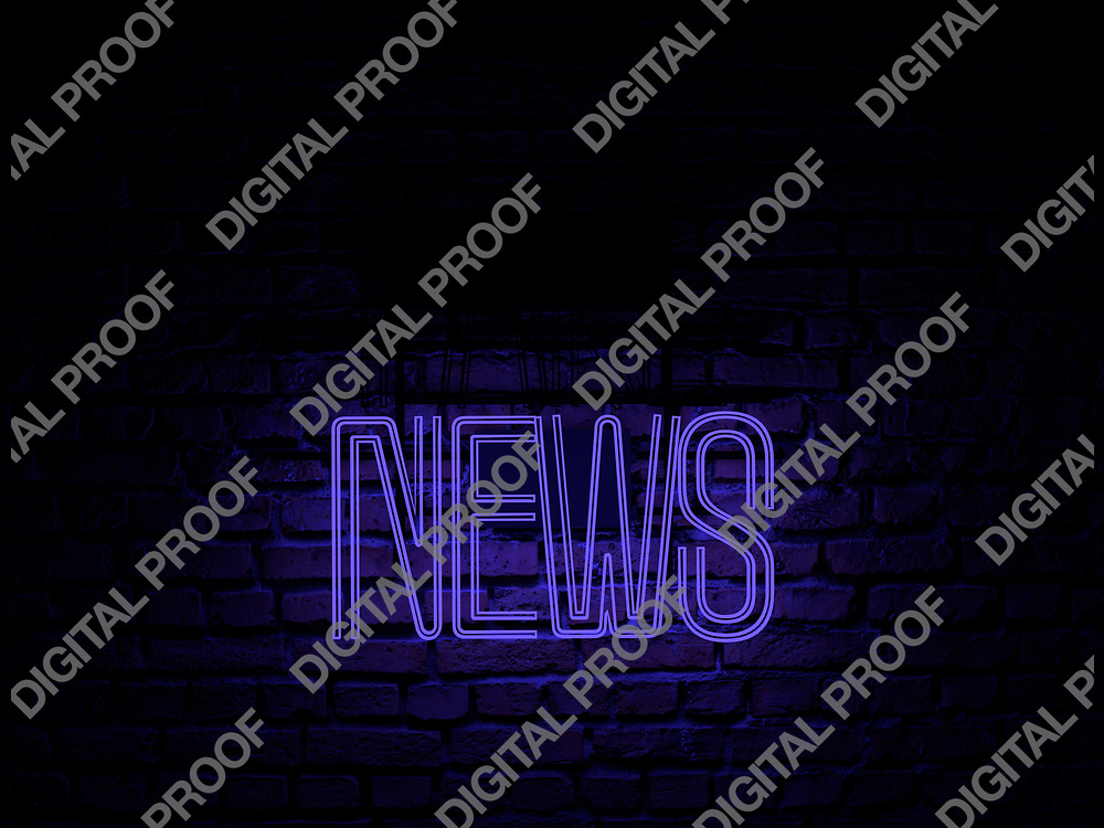 Fake News Neon Sign blue color news on fake off over a red brick wall at dark - Illustration Computer Rendered - Illustration