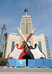 Exterior of former Hard Rock Cafe  nightclub and bar now closed as a result of financial crisis in Dubai United Arab Emirates UAE