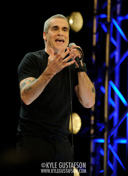 WASHINGTON, D.C. - February 13th, 2011: D.C. native Henry Rollins performs his unique brand of spoken word on his 50th birthday as part of the National Geographic Live! event series. The event was videotaped for a future DVD release. (Photo by Kyle Gustafson/For The Washington Post)