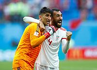 Ali Beiranvand (iran) and Roozbeh Cheshmi (Iran) celebrate end of the match<br /> Saint Petersburg 15-06-2018 Football FIFA World Cup Russia  2018 <br /> Morocco - Iran / Marocco - Iran <br /> Foto Matteo Ciambelli/Insidefoto