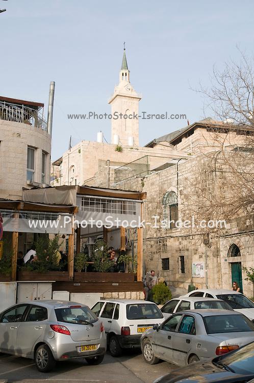 Israel, Jerusalem, Ein Kerem (Also Ein Karem), The traditional birthplace of John the Baptist. The steeple of the Church of John the Baptist in the background