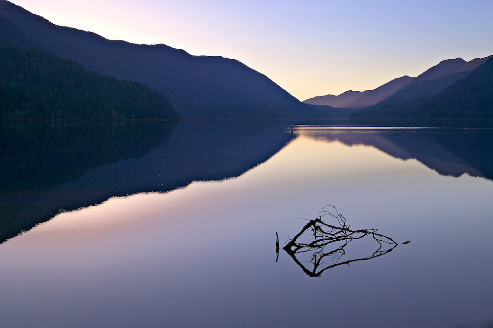 Silhouetted Mountains and Twilight Sky Reflecting in Crescent Lake, Olympic National Park, Washington State