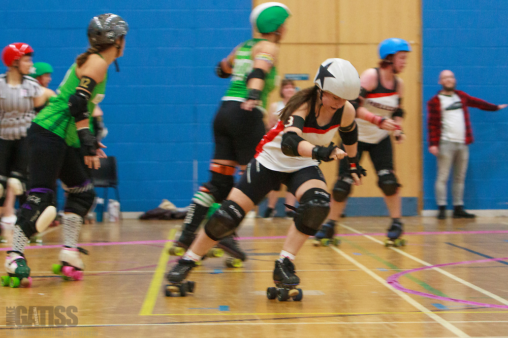 Nottingham Roller Girls take on Hallam Hellcats Roller Derby in the Quarter Finals of the Tier 2 WFTDA British Champs 2019 Playoffs at Fenton Manor Sports Complex, Stoke-on-Trent, 2019-09-21