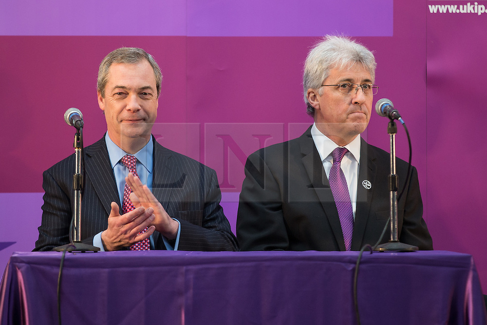 © Licensed to London News Pictures . 23/03/2015 . Middleton , UK . Nigel Farage and UKIP PPC for Heywood and Middleton John Bickley . UKIP leader Nigel Farage , Deputy Leader Paul Nuttall and Economics Spokesman Patrick O'Flynn announce UKIP's economic policy at Concept Metal Products and Co Ltd in Middleton , Lancashire . Photo credit : Joel Goodman/LNP