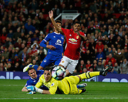 Marcus Rashford of Manchester United looks on as his shot past Joel Robles of Everton goes wide during the English Premier League match at Old Trafford Stadium, Manchester. Picture date: April 4th 2017. Pic credit should read: Simon Bellis/Sportimage