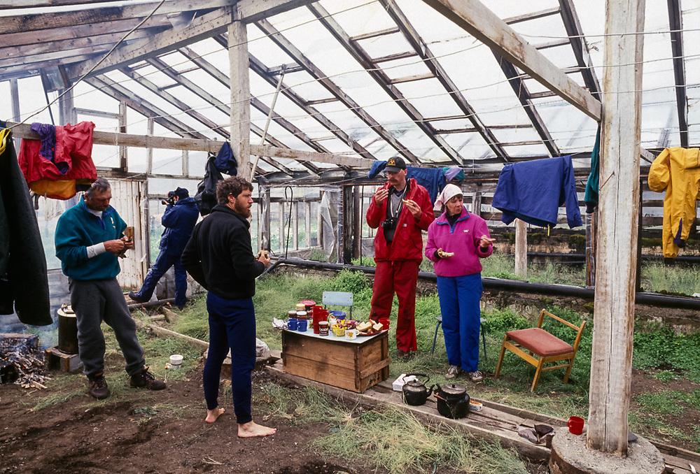 Ken Leghorn, Norman, and ,Lorino Hot Springs greenhouse, temporary expedition shelter, Chukostk Peninsula, NE Russia 1992