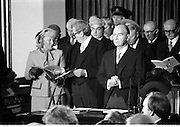 Inaugeration of President Hillery..1983.03.12.1983.12.03.1983.3rd December 1983...Dignitaries from home and abroad attended the Inaugeration of Patrick Hillery, as president of Ireland. the ceremony took place at St Patrick's Hall,Dublin Castle...Photograph of a pensive Mr Patrick Hillery as he waits for proceedings to start.