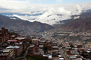 Overhead view cityscape of the city of La Paz with the Andes mountains in the background, Bolivia