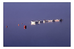 Becalmed GP 14 Dinghies on their moorings at Bardowie Loch, the Clyde Cruising Club's Dinghy Section...Marc Turner PFM