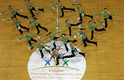 Hawks Cheer Team, UK at European Cheerleading Championship 2008, on July 5, 2008, in Arena Tivoli, Ljubljana, Slovenia. (Photo by Vid Ponikvar / Sportal Images).