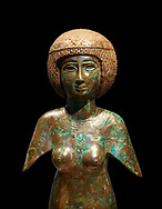 Ancient Egyptian bronze statue of Meres-Amun. Ancient Egypt 22nd Dynaty, 850 BC. Neues Museum Berlin Cat No: AM 32321.