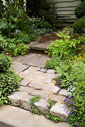 Cobbled stone path. A Shady Courtyard Garden. Design: Fiona Bruce - Chelsea 2005