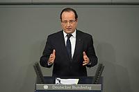 22 JAN 2013, BERLIN/GERMANY:<br /> Francois Hollande, Staatspraesident Frankreich, haelt eine Rede, waehrend der gemeinsamen Sitzung der Assemblee nationale und des Bundestages sowie der Regierungen, des Staatspraesidenten und des Bundespraesidenten anl. des 50. Jahrestages der Unterzeichnung des Elysee-Vertrages, Plenum, Deustcher Bundestag<br /> IMAGE: 20130122-01-014<br /> KEYWORDS: Assemblée nationale, Elysee-Vertrag, Elysée-Vertrag, François Hollande