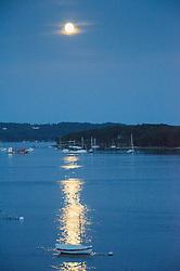 Moonrise over Castine Harbor, Castine, Maine, US