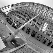 Front of the Kauffman Center for the Performing Arts in Kansas City, Missouri. Designed by architect Moshe Safdie.