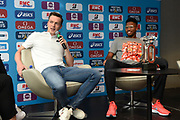 Karsten Warholm (NOR) and Abderrahman Samba (QAT) during press conference of Meeting de Paris 2018, Diamond League, at Hotel Marriott, in Paris, France, on June 29, 2018 - Photo Jean-Marie Hervio / KMSP / ProSportsImages / DPPI