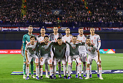 Team Spain during the UEFA Nations League football match between Croatia and Spain, on November 15, 2018, at the Maksimir Stadium in Zagreb, Croatia. Photo by Morgan Kristan / Sportida