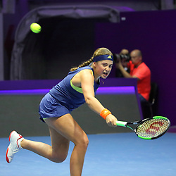 February 2, 2018 - St. Petersburg, Russia - Russian Federation. Saint-Petersburg. SIBUR arena. Tennis. WTA. St. Petersburg Ladies Trophy 2018. Women. Petra KVITOVA - Jelena OSTAPENKO. (Credit Image: © Russian Look via ZUMA Wire)