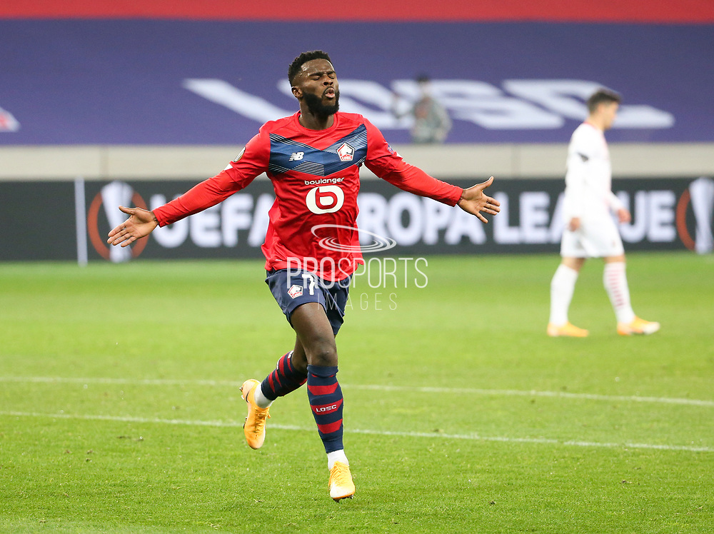 Jonathan Bamba of Lille celebrates his goal during the UEFA Europa League, Group H football match between Lille OSC and AC Milan on November 26, 2020 at Pierre Mauroy stadium in Villeneuve-d'Ascq near Lille, France - Photo Jean Catuffe / ProSportsImages / DPPI