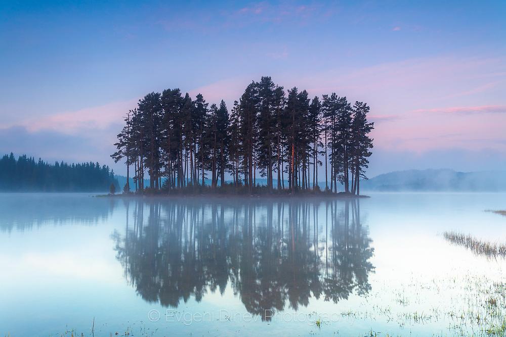 Small island in a mountain lake