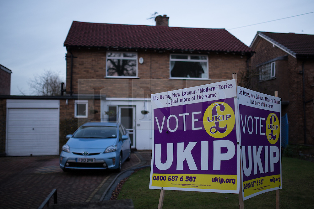 © Licensed to London News Pictures . 10/02/2014 . Sale , UK . A house on Wythenshawe Road with a large UKIP board in the front garden . UKIP 's candidate in the up coming Wythenshawe and Sale Easy by-election , John Bickley , is widely predicted to come second . The election was called after the death of the Labour MP , Paul Goggins . Photo credit : Joel Goodman/LNP