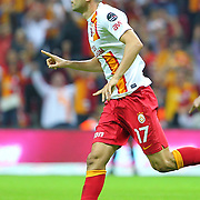 Galatasaray's Celebrates his goal Burak Yilmaz during their Turkish Super League soccer match Galatasaray between Eskisehirspor at the TT Arena at Seyrantepe in Istanbul Turkey on Saturday, 06 October 2012. Photo by TURKPIX