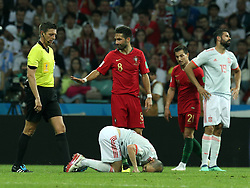 June 15, 2018 - Sochi, Russia - June 15, 2018, Russia, Sochi, FIFA World Cup, First round, Group B, First round, Portugal against Spain at Fisch Stadium. Player of the national team Joo Filipe Iria Santos Moutinho (8), Diego da Silva Costa  (Credit Image: © Russian Look via ZUMA Wire)