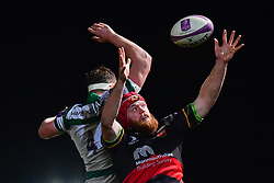 Newcastle Falcons' Will Witty' and Dragons' Joseph Davies contest the line out <br /> <br /> Photographer Craig Thomas/Replay Images<br /> <br /> EPCR Champions Cup Round 3 - Newport Gwent Dragons v Newcastle Falcons - Saturday 15th December 2017 - Rodney Parade - Newport<br /> <br /> World Copyright © 2017 Replay Images. All rights reserved. info@replayimages.co.uk - www.replayimages.co.uk