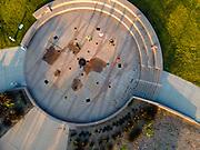 Aerial photograph of Omaha Plaza, Omaha, Nebraska, with people exercising, on a beautiful morning.