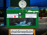 07 AUGUST 2016 - BANGKOK, THAILAND: A ballot box in a polling place at Wat That Thong in Bangkok. Thais voted Sunday in the referendum to approve a new charter (constitution) for Thailand. The new charter was written by a government appointed panel after the military coup that deposed the elected civilian government in May, 2014. The charter referendum is the first country wide election since the coup.      PHOTO BY JACK KURTZ