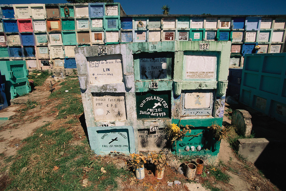 Stacked aboveground graves in a cemetery overlooking Lake Aititlan in Solola, Guatemala.