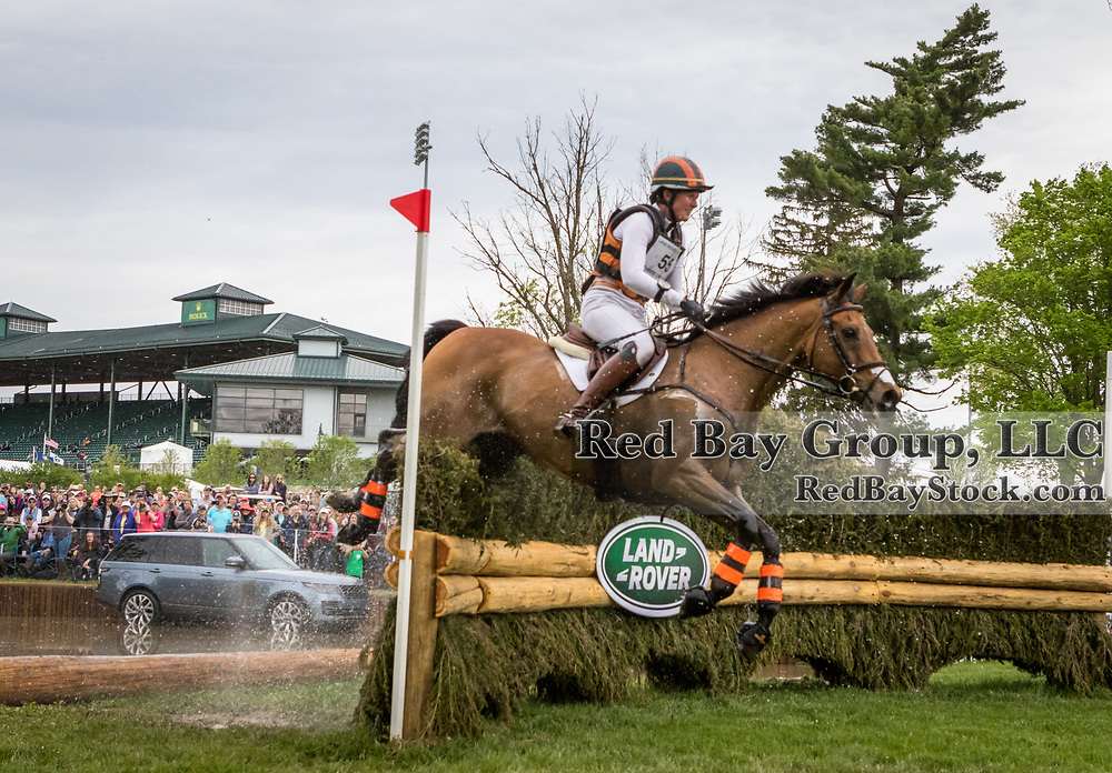 Lauren Kieffer (USA) and Vermiculus during the cross-country at the 2019 Land Rover Kentucky Three-Day Event presented by MARS EQUESTRIAN in Lexington, Kentucky