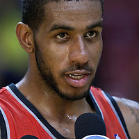 08 March 2011: Portland Trail Blazers power forward LaMarcus Aldridge (12) talks to Fox Sports at the end of the Portland Trail Blazers 105-96 victory over the Miami Heat at the AmericanAirlines Arena, Miami, Florida, USA.