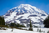 The Northwest side of Mount Rainier, Mount Rainier National Park, Washington, USA.
