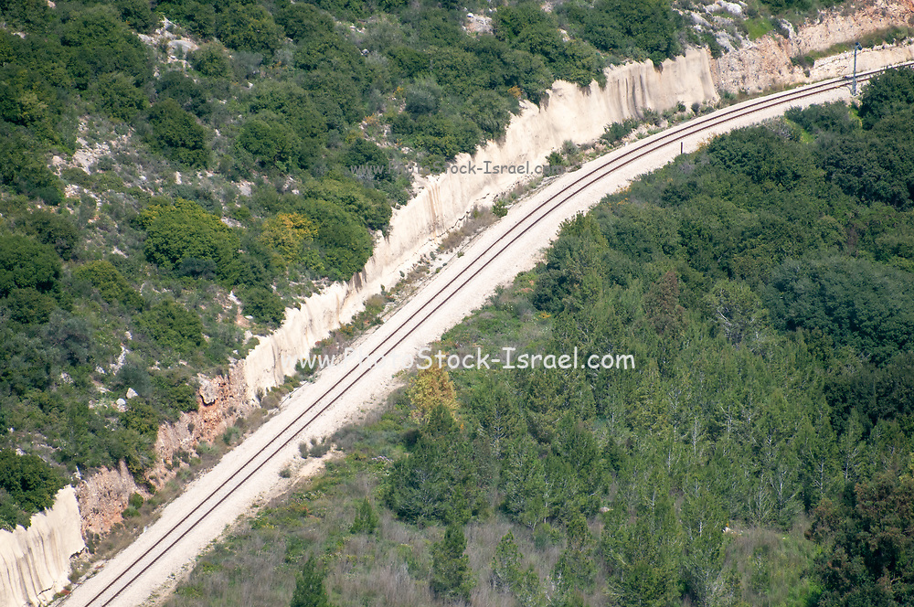 The old single track railway from Jaffa (Tel Aviv) to Jerusalem winds through the foot hills of the Judea mountains near Beit Shemesh, Israel This railway was built by the Turks during the rule of the Ottoman Empire. (inaugurated in 1892.) This track was only recently replaced by a new modern rapid transport line between these two major cities in Israel