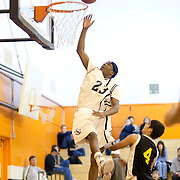 Eighth grade Team Cal player Demetrius Walker in action during tournament, Chatsworth, CA.