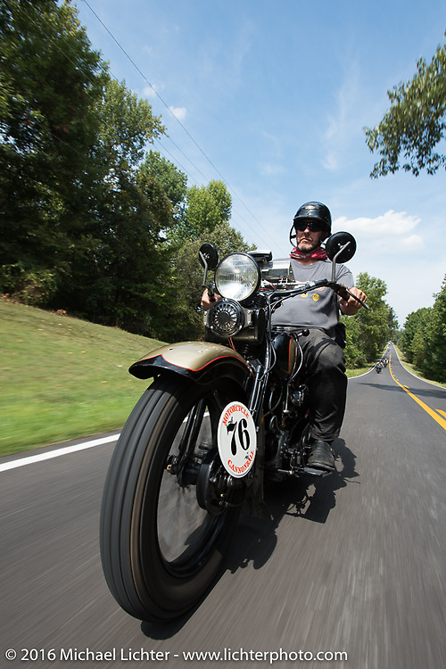 """Robert Gustavsson or """"Big Swede"""" as he is fondly known, riding his 1931 Harley-Davidson VL during Stage 5 of the Motorcycle Cannonball Cross-Country Endurance Run, which on this day ran from Clarksville, TN to Cape Girardeau, MO., USA. Tuesday, September 9, 2014.  Photography ©2014 Michael Lichter."""