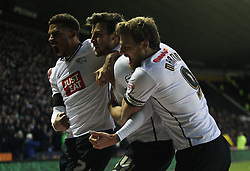 George Thorne of Derby County (C) celebrates scoring his sides first goal - Mandatory byline: Jack Phillips / JMP - 07966386802 - 21/11/2015 - FOOTBALL - The iPro Stadium - Derby, Derbyshire - Derby County v Cardiff City - Sky Bet Championship